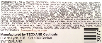 Teoxane Advanced Filler INCI